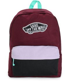 A solid burgundy body is accented with contrast mint straps and a lavender and black colorblock pouch pocket for a colorful look perfect for keeping your gear stored and secured.