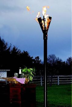 Standing ft tall, this modern gas Tiki Torch will take your garden or patio lighting to the next level with beautiful, natural light. Outdoor Torches, Outdoor Heaters, Tiki Torches, Gas Fire Pit Kit, Lake Landscaping, Garden Torch, Outside Pool, Fire Pit Ring, Gas Lights