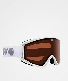 "Equip yourself with the best with the Crusher Elite matte white HD persimmon snowboard goggles from Spy. These goggles feature Spy's signature ""Happy Lens™"" which offers complete eye protection while still allowing you to see all the details in the Snowboard Goggles, Eye Protection, Spy, Rest, Activities, Sunglasses, Detail, Frame, Sunnies"