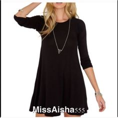 Stunning tunic dress This Great tunic can be worn with leggings or  as a dress it comes in many colors great style PLEASE Use the Poshmark new option you can purchase and it will give you the option to pick the size you want ( all sizes are available) BUNDLE and save 10% ( no trades price is firm unless bundled) Dresses