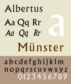 Font sample specimen: Albertus. Selection: www.rotterdam-vormgeving.nl