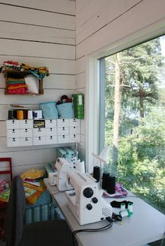 Sewing at summer house