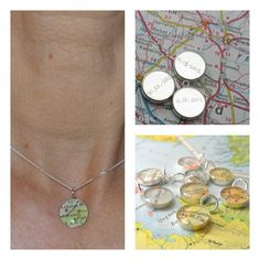 Handwritten Engraved Petite Vintage Map Sterling Silver 16 inch Necklace.  You Select Journey.. $42.00, via Etsy.