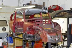 Great documentary of VW Beetle restoration. Welding body with new Heater channels