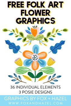 Create fun designs with these free folk art flower graphics! 36 different elements and 3 posie designs included Free Printable Art, Printable Designs, Free Printables, Free Watercolor Flowers, Free Collage, Folk Art Flowers, Scandinavian Folk Art, Freebies, Free Photoshop