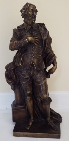 Michel Ryspach 1743 - Daprés - Escultura de bronze patinado, repres. Rubens, med. 60 x 21 x 18 c
