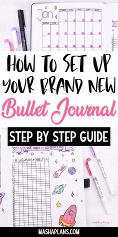 Want to start a Bullet Journal but not sure where to start? This step by step guide helps take you through the entire bullet journal setup process in 6 simple steps! Bullet Journal For Beginners, Creating A Bullet Journal, Self Care Bullet Journal, Bullet Journal Hacks, Bullet Journal Notebook, Bullet Journal Aesthetic, Bullet Journal Themes, Bullet Journal Spread, How To Start A Bullet Journal