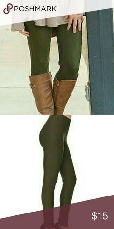 Olive Green Leggings Elastic waist band (not like a yoga waist band). 92%Polyester 8%Spandex. Very soft fabric! Fits up to a Size 12 comfortably! This is a thicker fabric. It is not sheer like tights. These hold their shape well. I personally own several pairs of these and would say they are comparable to the ever famous LuLaRoe leggings (of which I own over 10 pairs). Pic 3 gives an idea of the style of waist band. Infinity Raine Pants Leggings