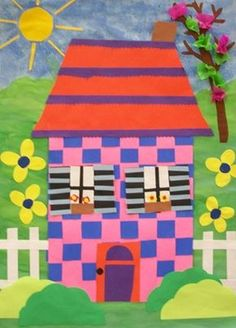 First Graders created houses from their paper weavings. They added details and then made a backgrounds for their houses with paint and assorted materials.