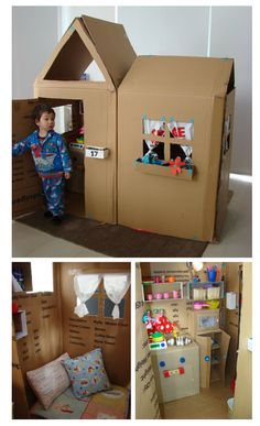Cardboard house with kitchen appliances