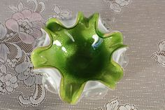 Green Murano Italian Art Glass Bullicante Bowl with Silver Flecks White Glass Console Bowl 6 Scolloped edge Centerpiece Candy Dish ashtray by sisoftmoonVintage on Etsy