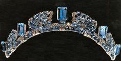 Tiara de Aguamarinas de Cartier perteneciente a Ana de Inglaterra.