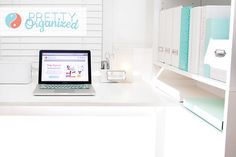 Office Organizing Tips; White & Aqua Office