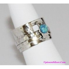 Silpada Artisan Jewelry Blue Faux Opal Size 6.5 - 7 Hammered 925 Sterling Silver Double Spin Ring Retired Rare