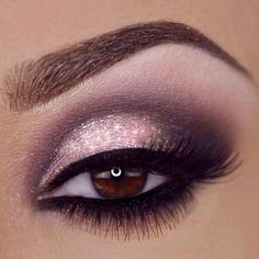 Pink Glitter and Matte Dark Purple Eye Makeup - Winged Eyeliner - Lashes - Perfect Brows - Valentines Day Look