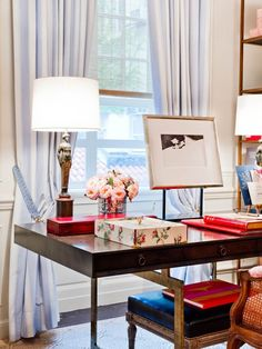 Office with modern and antique elements. Love the striped curtains too