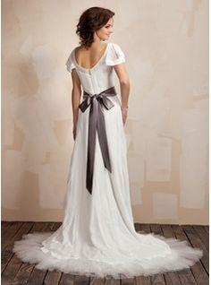 A-Line/Princess Scoop Neck Court Train Chiffon Tulle Charmeuse Wedding Dress With Ruffle Sash Beading Bow(s) (002012665) - JJsHouse