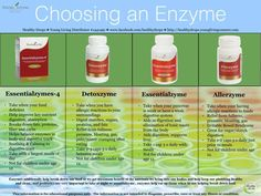 Young Living Essential Oils: Allerzyme, Detoxzyme, Essentialzyme, Essentialzymes-4. For more info or to order www.EssentialOilsEnhanceHealth.com