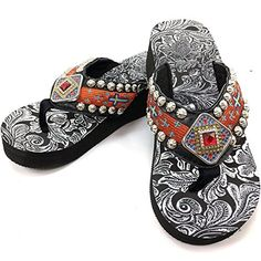 9e8fbe6ddfd16 See more. Western Peak Womens Concho Rhinestones and Stud with Embroidery  Orange PU Sandal Flip Flop 7  gt