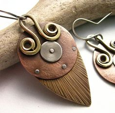 Modern Tribal Tri Metal Shield Earrings - Copper, Brass, Silver, Mixed Metal Jewelry - Cold Connected Riveted Earrings