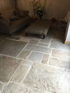 Reclaimed antique York stone flooring selected and refined for inside projects.Reclaimed antique York stone flooring selected and refined for inside projects. Genuine material cut to 30 mm for interior use with underfloor heating. Flagstone Flooring, Granite Flooring, Kitchen Flooring, Stone Kitchen Floor, Kitchen Wood, Tile Flooring, Kitchen Sink, Kitchen Decor, Vinyl Flooring Uk