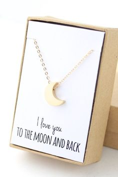 Gold Moon Necklace Tiny Moon Necklace Delicate