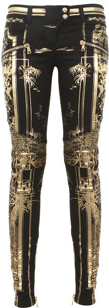 {Balmain Gold Black and Goldtone Printed Biker Jeans}