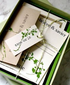 Love this boxed wedding stationary idea.  We would use our Stardream Fairway Card, Brown Kraft paper and recycled card in oatmeal or wheat.