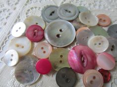 Vintage Buttons  Amazing mother of pearl by pillowtalkswf on Etsy, $8.95