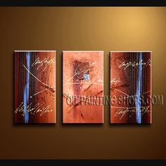 Primitive Modern Abstract Painting Hand Painted Oil Painting Gallery Stretched Abstract. This 3 panels canvas wall art is hand painted by Bo Yi Art Studio, instock - $133. To see more, visit OilPaintingShops.com