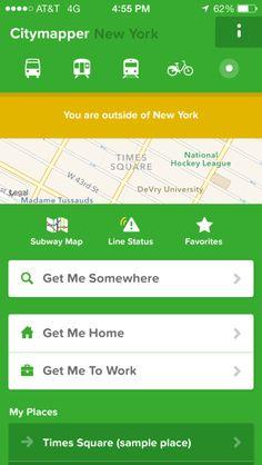 Citymapper iPhone detail views, maps screenshot