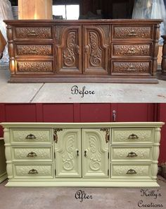Dresser painted pale green with aged brass hardware before and after pictures.  Painted by Kelly's Creations Furniture.