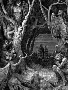 Harpies in the wood of the suicides. Divine Comedy, 1890.