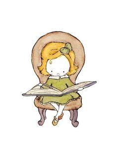 Little Scholar a pretty blonde girl in a brown by trafalgarssquare, $20.00