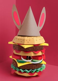 Hamburger Maybe something for Printer Chat? Origami, 3d Paper, Paper Toys, Paper Cutting, Cuento Pop Up, 3d Printing Diy, Cardboard Sculpture, Paper Illustration, Paper Artwork
