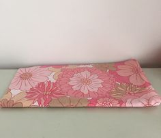 1960s Retro Pink Floral Bed Sheet Fabric Remnant / by stylesixties