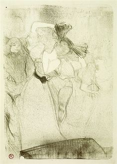 Henri de Toulouse-Lautrec, Back Lender Dancing Bolero In Chilperic, Lithograph in olive green on Vellum paper
