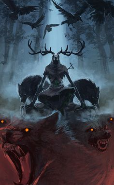 antlers, crow, and wolf image