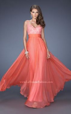 Exquisite chiffon gown with jewel encrusted lace bodice and soft gathered skirt #Lafemmefashion #PerfectPromDress