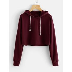 To find out about the Drawstring Hooded Crop Sweatshirt at SHEIN, part of our latest Sweatshirts ready to shop online today! Komplette Outfits, Teen Fashion Outfits, Outfits For Teens, Casual Outfits, Fashion Clothes, Crop Top Hoodie, Cropped Hoodie, Mode Kpop, Vetement Fashion