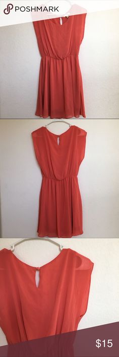 Lush peach colored skater dress Flowy and light. Cute skater dress with button and hoop closure in the back. Reasonable offers welcomed! Lush Dresses Mini