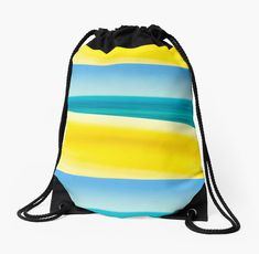 """""""Sand Sea and Sky"""" Drawstring Bag by colinsart Iphone Wallet, Sell Your Art, Woven Fabric, Drawstring Backpack, Sky, Bags, Artists"""