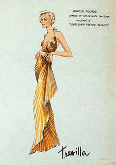 "Travilla, Gold Dress in ""Gentlemen Prefer Blondes"""