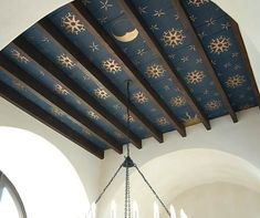 Beautiful Boho :: Statement Mural Walls --- boho bohemian nature colorful mural painted painting walls wallpaper eclectic vintage oriental middle-eastern design decor inspiration ideas --- navy-blue-gold-star-ceiling-bohemian-interior-design