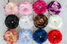 CHOOSE 2 Flower Clips Baby Hair Clips Flower Bows by Stitched4Ewe, $8.50