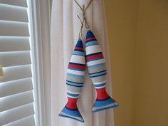 Fish Curtain Tie Backs - Red, White, and Blue - Boys Room Decor - Nautical Decor