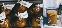 Caramel apples and spiced apple cider at the wedding reception | Surprise Harvest-Themed Backyard Garden Wedding | orbridemag.com | Photo: Leah Flores