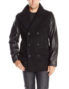 Sean John Men s Peacoat with Faux Leather Sleeves 506bdb1422