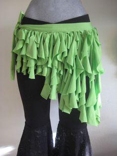 Falda de tiras verde. Tribal Bellydance danza arabe fajillas y cinturones en México CDMX por Danar.