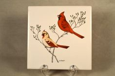 6 x 6 Red Cardinal Tile Trivet / Hot Plate Plaque